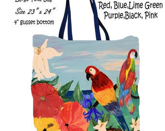 Parrot garden tropical  art double sided art printed beach bag from my artwork.