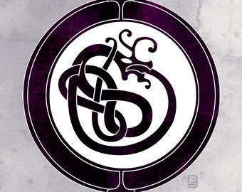 What is Shall Never Be -  Viking art motif inspired Ouroboros illustration