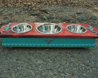 Dog Bowl Stand, Pet Feeding Stand, Elevated Dog Bowl, Raised Dog Feeder, 3 Bowl Feeder, Cat Feeder, Stainless Bowls, Made To Order