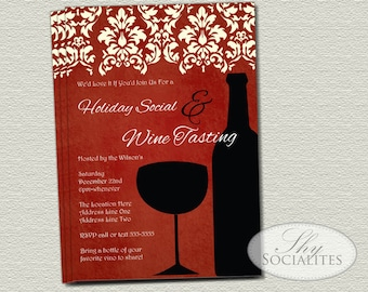 Elegant Red Wine Invitations | New Years Party, Bridal Shower, Holiday Party, Wine Tasting, Wine Silhouette, Vino | INSTANT DOWNLOAD
