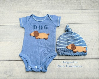 Baby Boy Wiener Dog inspired Hand Dyed Denim Bodysuit and Knotted Hat set, Dog Baby Apparel, Dog baby nursery set, baby shower gift