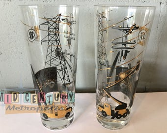Rare Mid Century Industrial Gold and Black Power Company Tumblers