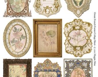 Cadres Français fleuris avec feuille de Collage botaniques - téléchargement - imprimable