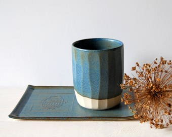 Cup and saucer Ceramic coffee cup and plate Teacup Ceramic mug Blue ceramic and pottery Faceted mug Owl mug Housewarming gift Handmade gift