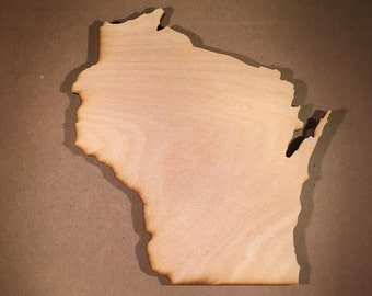Wisconsin Sign WI wooden cutouts - Shapes for Projects or Other Use