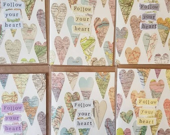 Follow your heart - handmade card using original vintage map pieces