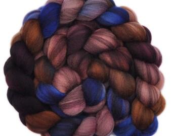 Hand dyed roving - Merino Humbug wool combed top spinning fiber - 4.0 ounces - Strange Night 1