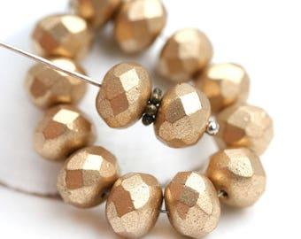 6x9mm Matte Gold rondelle beads, czech glass rondels, golden fire polished donut, rondel, gemstone cut - 12pc - 1362
