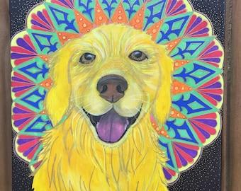 Mandala Mutts Golden Retriever Painting