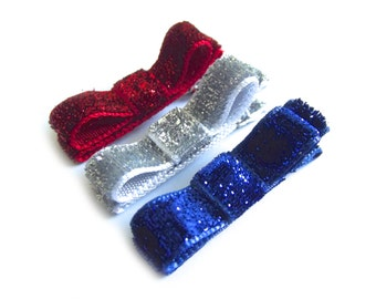 Fourth of July Hair Clips 4th of July Red Hair Clips Silver Hair Clips Blue Hair Clips Glitter Hair Clips Sparkly Hair Clips Baby Tuxedo Bow