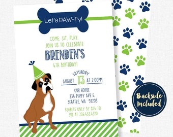 Puppy Dog Birthday Invitation, Puppy Party Invitation, Boxer Dog Invitation, Boy Puppy Party, Dog Invitations