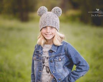 Gray Double Pom Hat, Mouse Ears, Pom Pom Hat, Grey Knit Hat, Newborn Pom Pom Beanie, Pom Poms, Kids Pom Toque, Knit Beanie, Baby Beanie, Hat