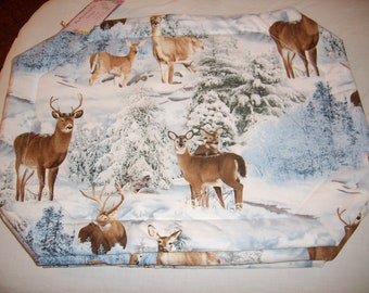 Snowy Deer Placemats - Set of 4
