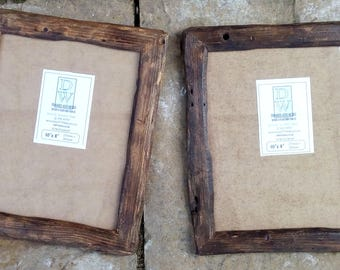 "Rustic/driftwood style frames in locally sourced,recycled,old pine .Medium dark or very dark beeswax finish.To fit 10""x8"",Free U.K. shipping"