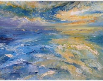 SUMMER LOVE, 70x50cm, seascape sunset blue waters landscape