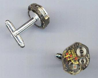 Steampunk Cufflinks. Father's Day Gift.Vintage Watch Movement. Victorian SteamPunk Mens accessories - Unforgettable by enchantedbeas on Etsy