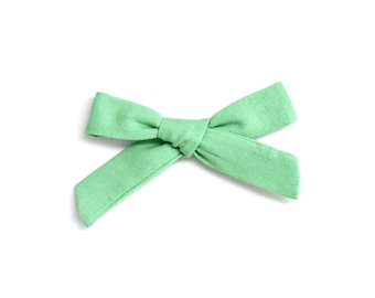 Cactus Green Bow - Toddler Bow Clip - Hand Tied Bow