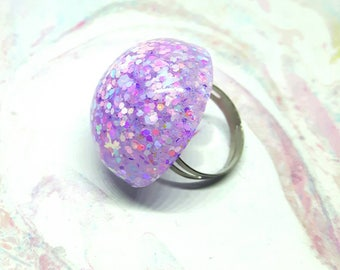 Pastel Glitter Ring, Glitter Resin Ring, Statement Ring, Adjustable Ring, Glitter Jewellery, Spring Ring, Pastel Accessories, Boho Ring