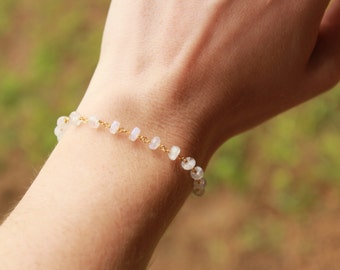 Moonstone Bracelet, Gemstone Bracelet, Healing Crystal, Yoga Bracelet, Chakra Bracelet, Moonstone, Beaded, Moonstone Jewelry, Chakra