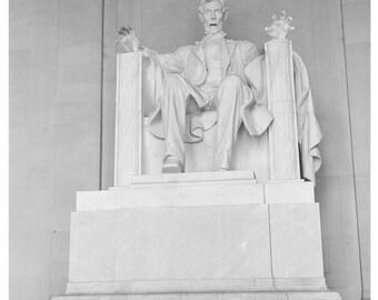 Digital Print, Abraham Lincoln, Lincoln Memorial, Washington dc, black and white, vintage photo, zombie, geekery, alternate histories