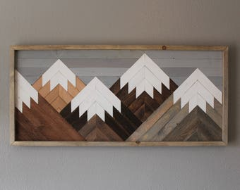 Reclaimed  Wood Wall Art Mountain Scene, Mantel Art, Cabin Decor, Rustic Style, Cozy, Over Sized Wooden Mural, Natural Wood Stained