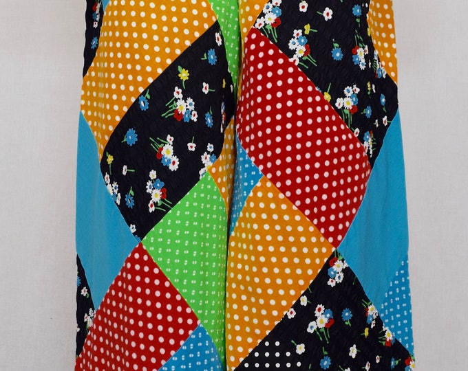Vintage 1960's 70's Couture Mountain Artisans Women's COUTURE Wide Leg High Waisted Rainbow Patchwork Hippie Boho Pants M  27 x 31