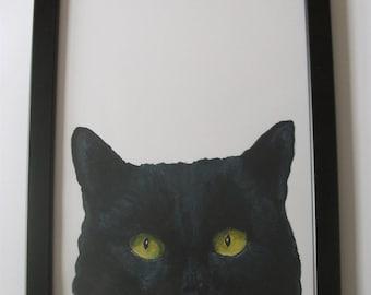 Peeking Cat painting