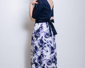 Floral maxi dress, open back maxi dress, wedding, floral dress, navy maxi dress, cotton dress, evening wear, occasion wear, bridesmaids