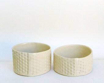 a pair of hand built porcelain bowls  ...   2 modern low bowls   …  dot matte bowl