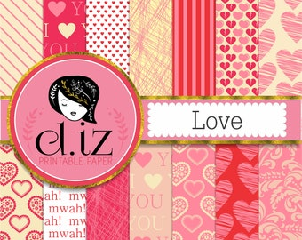 Love digital paper 'Love' 14 valentines digital papers printable pink heart backgrounds to say I Love you