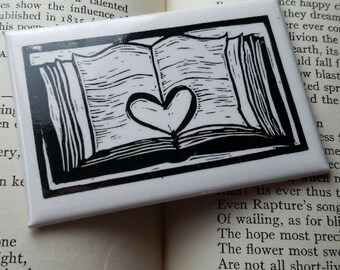 Open Book Heart Literary Kitchen Magnet