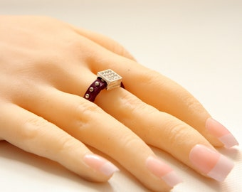 Handmade Leather Ring - Crystal ring - Women Leather ring with crystal  charms