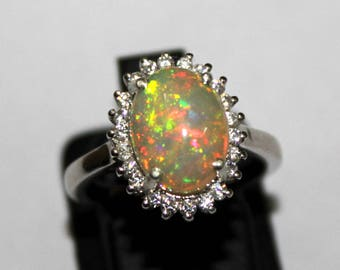 50% Off 11.50 x 9 MM  Natural Ethiopian  Opal Ring, White Opal Ring, Sterling Silver Ring, Opal Jewelry, Silver Opal Ring ( US 6 ) 0125