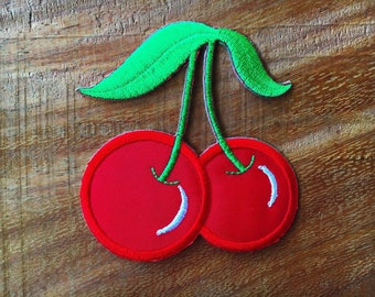 New Cute Cherry Sew/Iron-On Patch Embroidered Red Applique Decorate Fruit