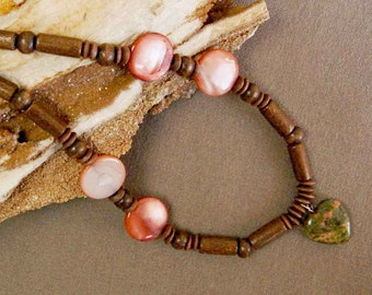 Unakite Heart, Wood and Shell Necklace, Lightweight Necklace, Green, Brown and Salmon Colored Necklace, 17 inch long beaded necklace