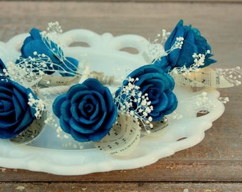 Navy blue boutonniere, Sola flower boutonniere, grooms boutonniere, sola wood flower bout, grooms flower, boutineer, natural wedding flowers