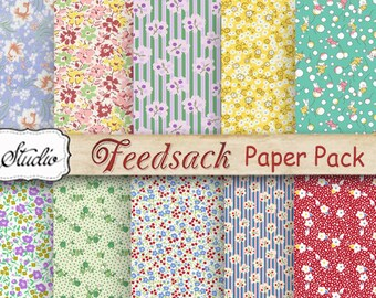 Feed Sack Floral Paper Pack, Digital Scrapbook Paper, Printable background Paper, Cards, Craft supplies, digital collage, jpeg, feedsacks