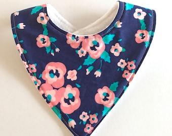 Baby Bibs. Floral Baby Bib. Bandana Baby Bib. Baby Bibs Handmade. Baby Girl Bib. Baby Shower Present. Newborn Baby Bib. Blue Pink Flowers.