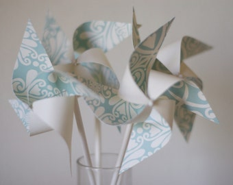 Mint Green Wedding Favor Birthday Favor SpinnIng Pinwheels! 12 mini Wedding Cake Topper Cake Decoration (custom orders welcomed)