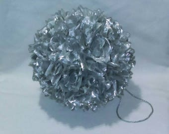 "Metallic Silver 9"" Rose Flower Pomander Kissing Ball - Pew Bow / Bouquet / Decor"