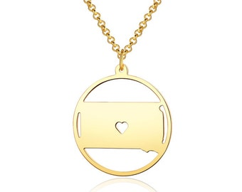 South Dakota  Necklace - 18K Gold plated South Dakota   Map Pendant - State Necklace -  Map necklace with circle - Can be made at any State