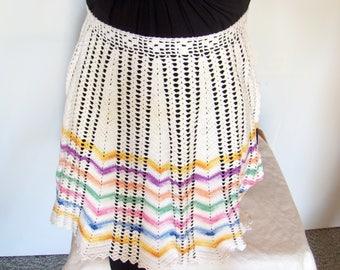 Crochet pastel apron, Vintage 1960s