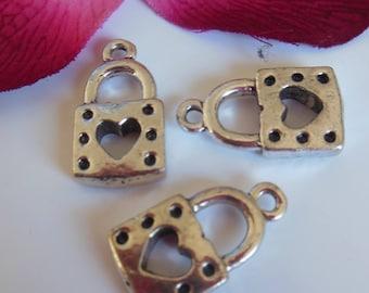 set of 3 Silver padlock charms