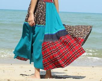 Maxi Skirt Cotton Hippie Women Long Skirt Summer Full Patch Work Costume Skirt Cotton A Line