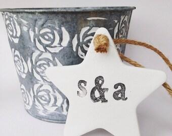 White clay star with initials, personalised star for wedding anniversary ~ wedding decor ~ wedding favor ~ wedding gift ~ birthday