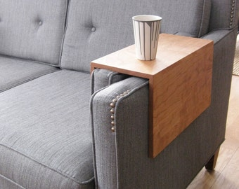 The Original Couch Arm Wrap - SOLID WOOD custom arm rest table for sofa drink laptop straight arm