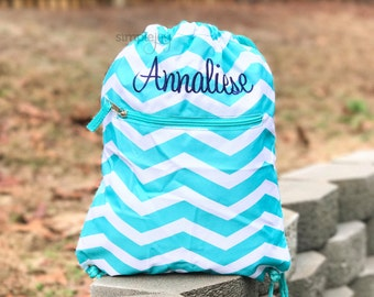 Teal Dawstring Backpack, Drawstring Bag, Kids Gym Bag, Girls Bag, Cinch Sack, Chevron Drawstring Bag, Girl Gym Bag, Personalized Drawstring