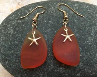 Cultured Orange Sea Glass Gold Starfish Dangle Earrings