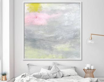 """Print on Canvas of abstract painting """"Some days are even better"""" Large wall art Giclee in grey, pink by Duealberi"""