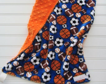 Baby Boy Sports Minky Lovey Blanket,  Soccer Blanket, Basketball Baby Blanket, Football Baby Boy Shower Gift, Baseball Lovey